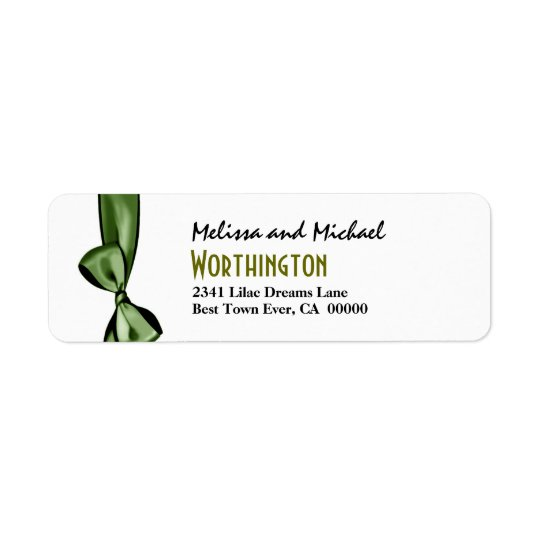 Green Faux Satin Bow Modern Lettering Return Address Label