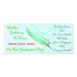 Green Feather Graduation Invitation