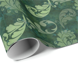Green, Feather, Quill, Feathers, Elegant, Lush Wrapping Paper