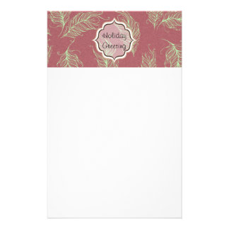 Green Feathers Red Holiday Christmas Stationery