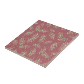 Green Feathers Red Holiday Christmas Tile