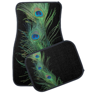 Green Feathers with Black Car Mat