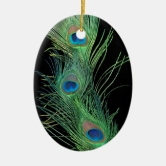 Green Feathers with Black Christmas Ornament