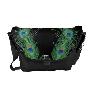 Green Feathers with Black Commuter Bag