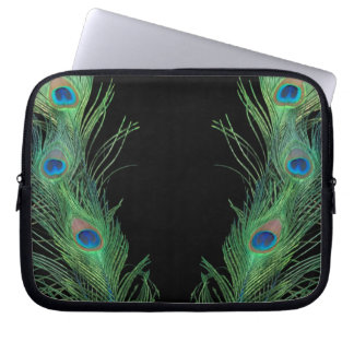 Green Feathers with Black Laptop Sleeve