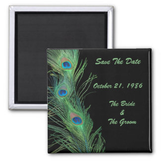 Green Feathers with Black Wedding Save the Date Magnet