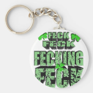 green feck with shamrock basic round button key ring