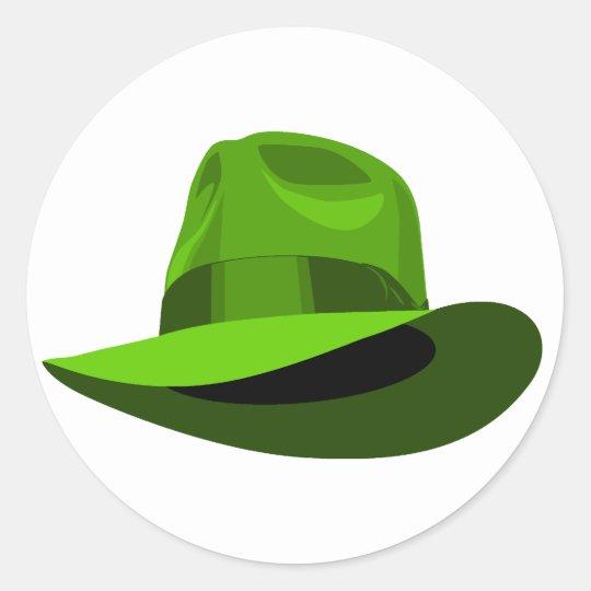 Green Fedora wide ribbon Classic Round Sticker