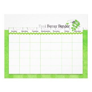 Green Feel Better Binder Calendar Flyer