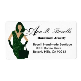 Green Feminine Beauty Model Woman Shipping Label