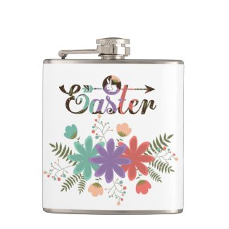 Green Fern And Colourful Flowers Hip Flask