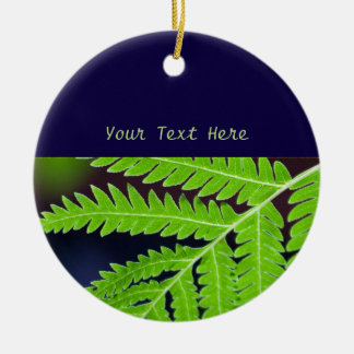 Green Fern Leaf Round Ceramic Decoration