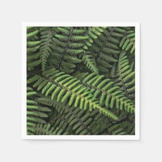 Green fern leaves disposable serviettes