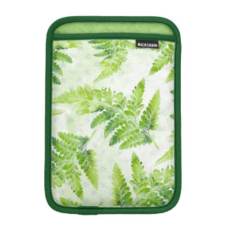 Green Fern Leaves Modern Botanical Watercolor iPad Mini Sleeve