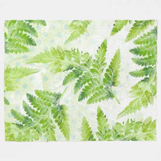 Green Fern Pretty Spring Summer Leaves Fleece Blanket