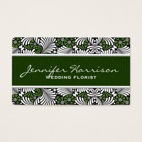 Green Fern Retro Leaf Pattern with White Business
