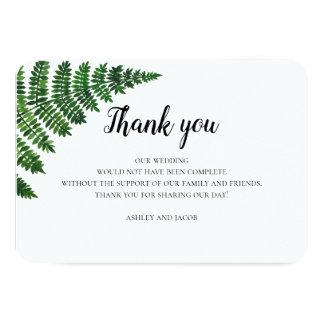 Green fern thank you. Summer floral wedding note Card