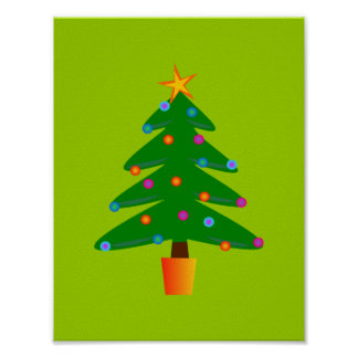 Green Festive Christmas Tree Poster