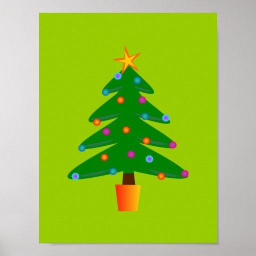 Green Festive Christmas Tree Posters