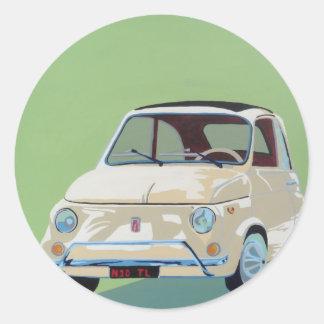 Green Fiat 500 Round Sticker
