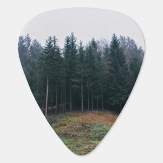 Green field and forest of trees guitar pick