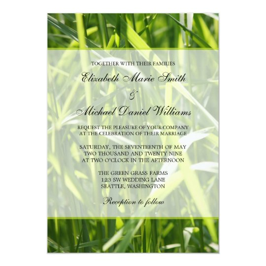 Green Field Grass Outdoor Wedding Card