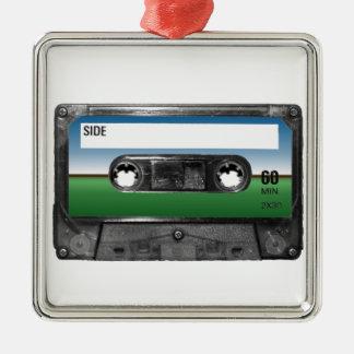Green Field Horizon Cassette Silver-Colored Square Decoration