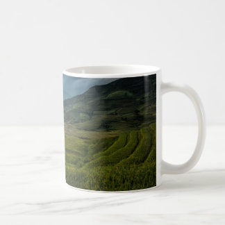Green fields and misty mountains coffee mug