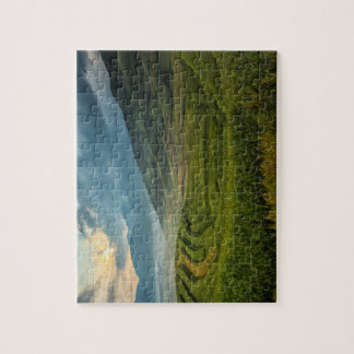 Green fields and misty mountains jigsaw puzzle