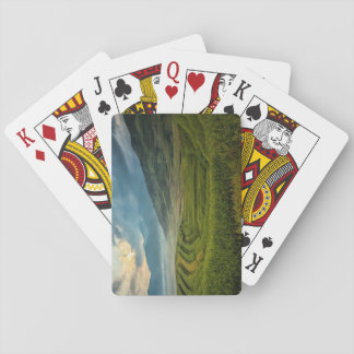 Green fields and misty mountains playing cards