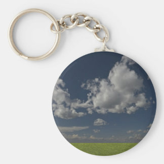 green filed, blue sky, white cloud basic round button key ring