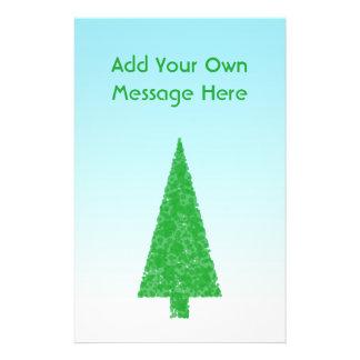 Green Fir Christmas Tree. Blue, White. Custom Text Custom Flyer