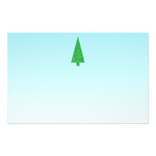 Green Fir Tree. On Blue - White. Christmas. Personalized Flyer