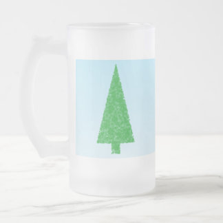 Green Fir Tree. On Blue - White. Christmas. 16 Oz Frosted Glass Beer Mug
