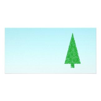 Green Fir Tree On Blue - White Christmas Photo Card Template