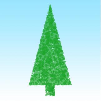 Green Fir Tree. On Blue - White. Christmas. Standing Photo Sculpture