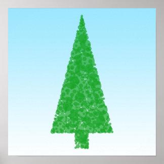 Green Fir Tree. On Blue - White. Christmas. Poster