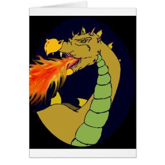 Green Fire Breathing Dragon Greeting Card