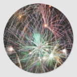 Green Fireworks At Night Sticker