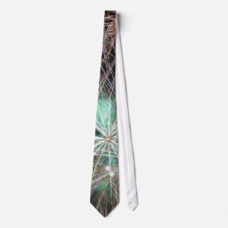 Green Fireworks At Night Tie