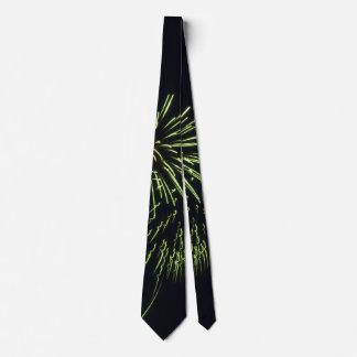 Green Fireworks on Black Neck Tie