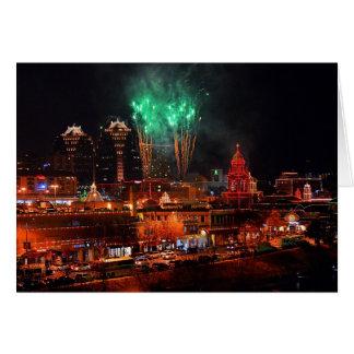 Green Fireworks over Kansas City Plaza Lights Card
