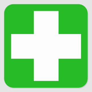 Green First Aid Decal Square Sticker