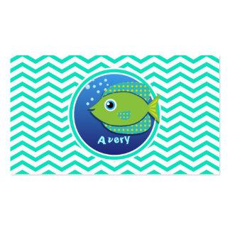 Green Fish Aqua Green Chevron Business Cards