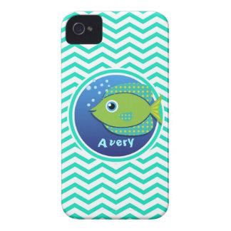 Green Fish Aqua Green Chevron Case-Mate iPhone 4 Case
