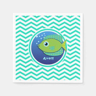 Green Fish; Aqua Green Chevron Disposable Serviette