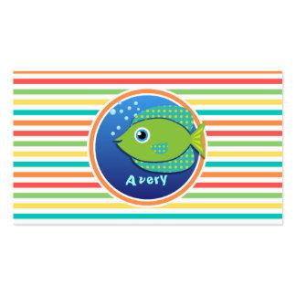 Green Fish Bright Rainbow Stripes Business Card