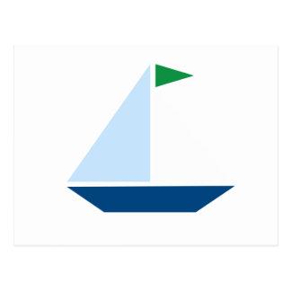 Green Flag Sail Boat Postcard