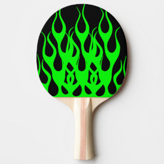 Green Flame Graphics Ping Pong Paddle