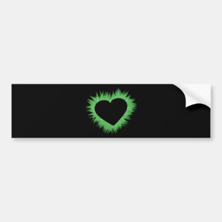 Green Flame Heart Bumper Stickers